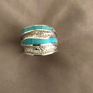 Jewelry - Genuine turquoise and sterling sliver ring size 7